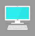 icon of a white computer monitor with a keyboard vector image