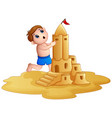 little boy making a big sandcastle at beach vector image vector image