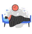 male character sleeping in bed sleepy man vector image vector image