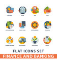 money finanse icons banking safety business vector image vector image