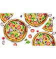 pizza pattern watercolor delicious texture vector image