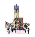 prague clock tower sketch drawing czech republic vector image