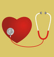 red heart and a stethoscope vector image vector image