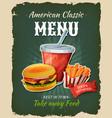 retro fast food burger menu poster vector image