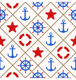Seamless nautical pattern with sea theme elements vector image