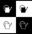 set watering can icon isolated on black and white vector image vector image
