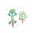 slogan print with cute color lizard and lettering vector image vector image