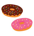 tasty donuts with pink and chocolate glaze vector image