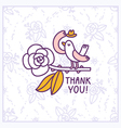 Thank you floral birdie card vector image vector image