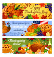 thanksgiving day american banners vector image vector image