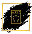 washing machine sign golden icon at black vector image vector image