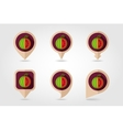 Watermelon mapping pins icons vector image vector image