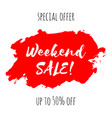 weekend sale lettering inscription special offer vector image