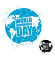 World Environment Day Earth in grunge style emblem vector image