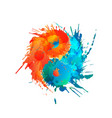 yin and yang made colorful splashes vector image