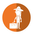 woman traveling hat and suitcase shadow vector image