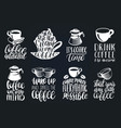 handwritten coffee phrases set quotes vector image