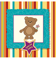 baby announcement card with teddy bear and flower vector image vector image
