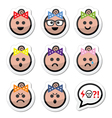 Baby girl faces avatar icons set vector image vector image