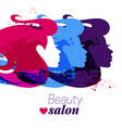 Beautiful watercolor acrylic girl silhouette vector image vector image