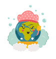 bright poster with cartoon planet taking shower vector image