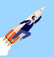 businessman on rocket career growth man flying vector image