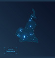 cameroon map with cities luminous dots - neon vector image vector image