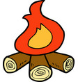 cartoon doodle bonfire vector image vector image