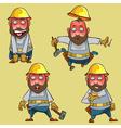 cartoon surprised worker in the helmet vector image vector image