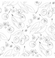 cherry bloom hand drawn outline seamless pattern vector image vector image