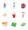 Children education icons set cartoon style vector image vector image