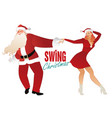 christmas couple dancing swing rock or lindy hop vector image vector image