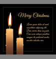 christmas greeting card with realistic burning vector image