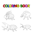 coloring book of beetle cartoon vector image vector image
