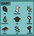 Court color outline isometric icons