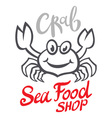 Crab silhouette Seafood shop logo branding vector image vector image