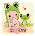 cute cartoon baby and frogg vector image vector image