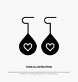 earing love heart solid black glyph icon vector image