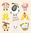 farm life cartoon fun farm animals set vector image vector image