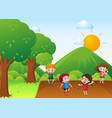 four kids exercise in the park vector image