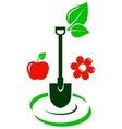 garden icon with fruit and flower vector image