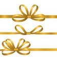 gold silk ribbons satin bows elements vector image