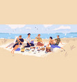 group happy friends at picnic on seashore vector image vector image