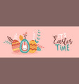 happy easter card cute painted spring eggs vector image