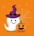 happy halloween card with gosth vector image vector image