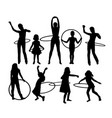 happy hulahoop activity silhouettes vector image vector image