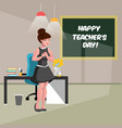 happy teacher s day with teacher vector image vector image