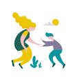 happy young man and woman giving high five to each vector image vector image