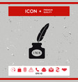 ink bottle with feather - icon vector image