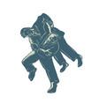 judo scratchboard vector image vector image